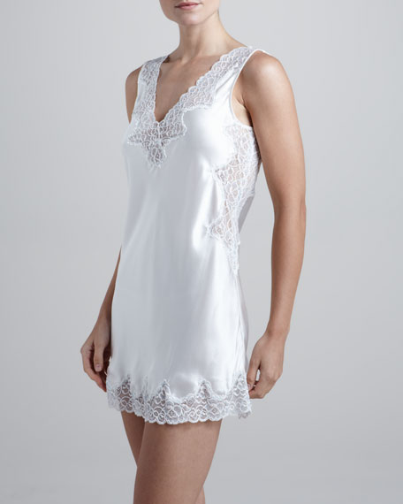 Satin Lace-Trim Chemise, Ivory/Blue Cross-Dye