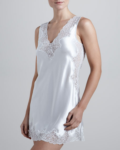 Satin Lace-Trim Chemise, Silver Ice