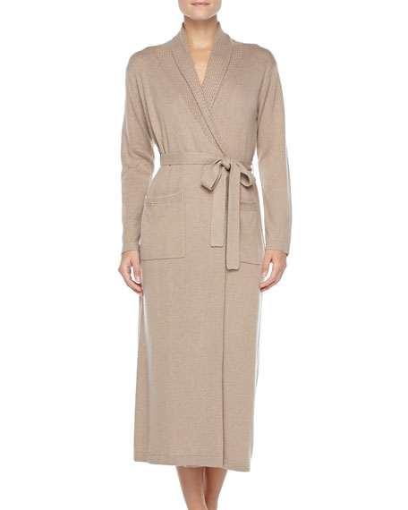 Long Cashmere-Silk Robe, Taupe