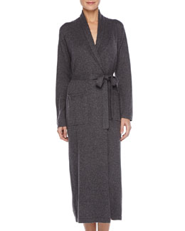 Neiman Marcus Long Cashmere-Silk Robe, Charcoal