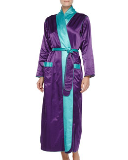 Louis at Home Long Satin Robe, Purple