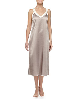 Louis at Home Cassis Long Satin Gown, Truffle/Cream