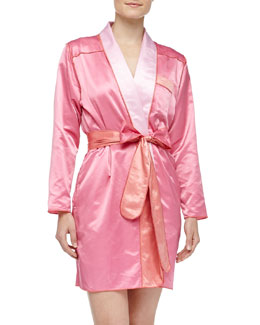 Louis at Home Riviera Satin Short Robe, Pink/Coral