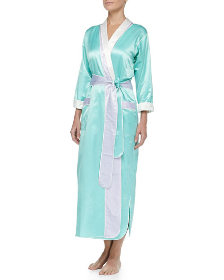 Monte Carlo Satin Long Robe, Mint/Lilac