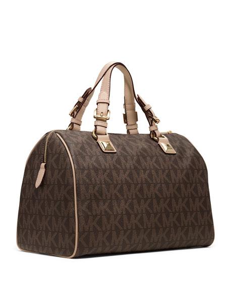 Grayson Large Logo Satchel Bag, Brown
