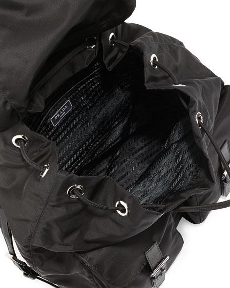 prada totes bags - Prada Vela Large Two-Pocket Backpack, Black (Nero)