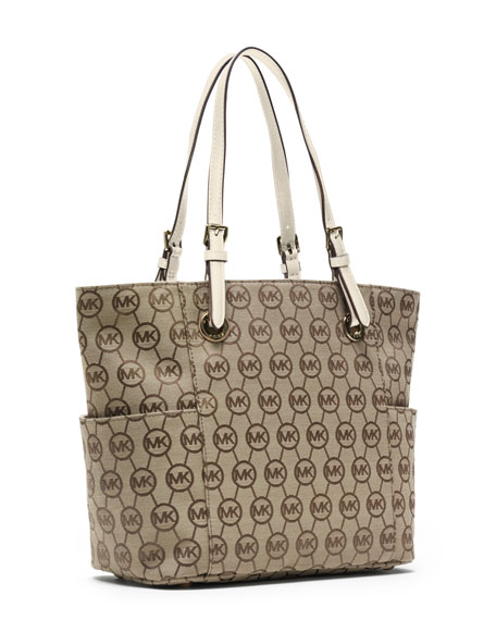 Jet Set Item East/West Signature Tote, Beige/Ebony Vanilla