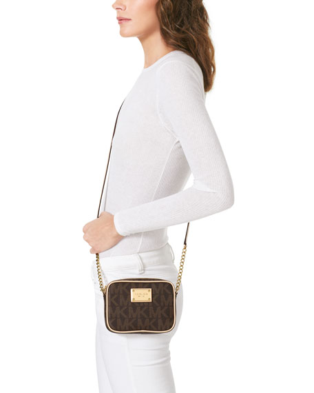 b91e5fc5e218 MICHAEL Michael Kors Jet Set Crossbody, Brown Logo Monogram