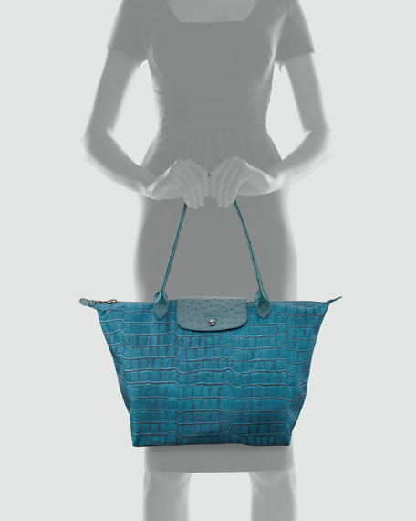 Le Pliage Croco-Print Large Shoulder Tote Bag, Duck Blue