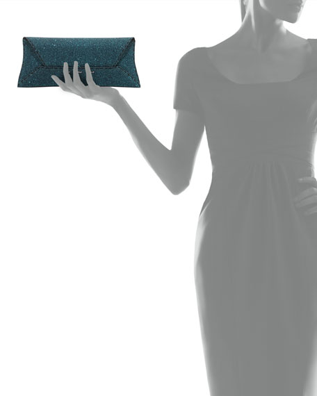 Manila Stretch Sparkle Clutch Bag, Turquoise