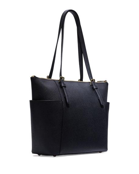 Jet Set Top-Zip Saffiano Tote Bag, Navy