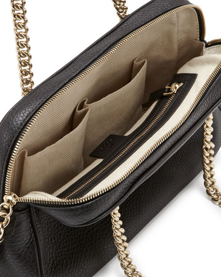 Soho Leather Double-Chain-Strap Shoulder Bag