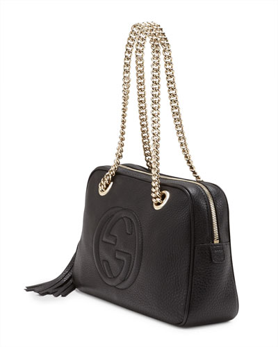 Gucci Soho Black Leather Shoulder Bag With Chain Strap 17