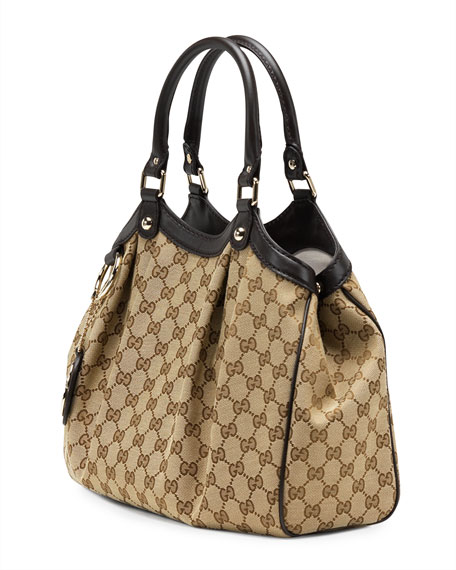 Sukey Medium Original GG Canvas Tote, Cocoa