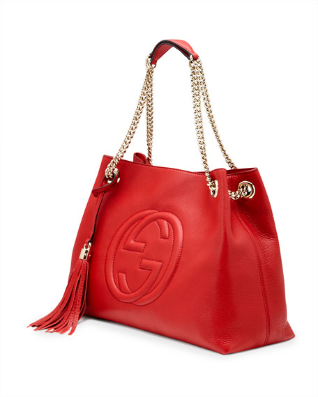 Soho Leather Medium Chain-Strap Tote, Red