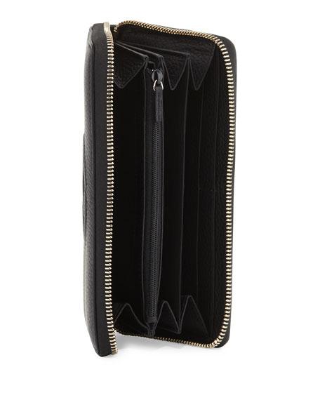 Soho Leather Zip-Around Wallet, Black