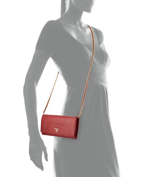 d0097c946711 Prada Saffiano Wallet on a Chain, Red (Fuoco)