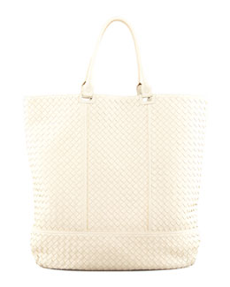Bottega Veneta Maxi Woven North-South Tote Bag, Off White