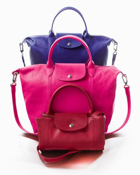 Le Pliage Cuir Handbag with Strap, Red