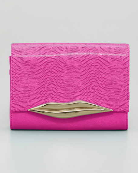 Lizard-Embossed Lips Clutch Bag