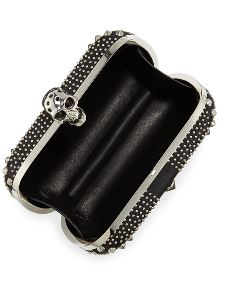 Studded Britannia Classic Skull Clutch Bag, Black