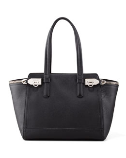 Salvatore Ferragamo Verve Double-Zip Tote Bag, Black