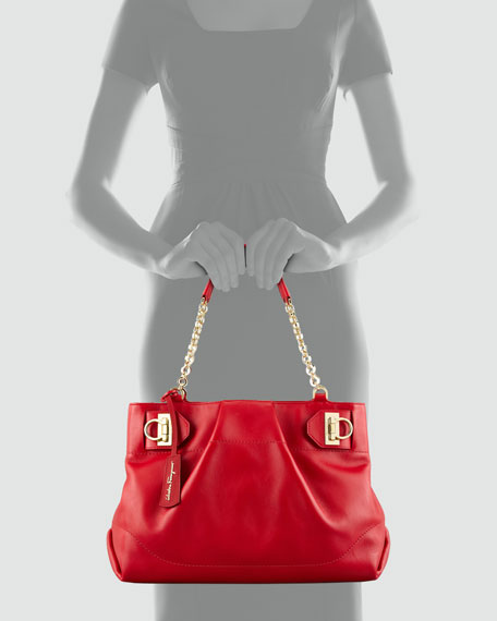 W Chain Tote Bag, Red