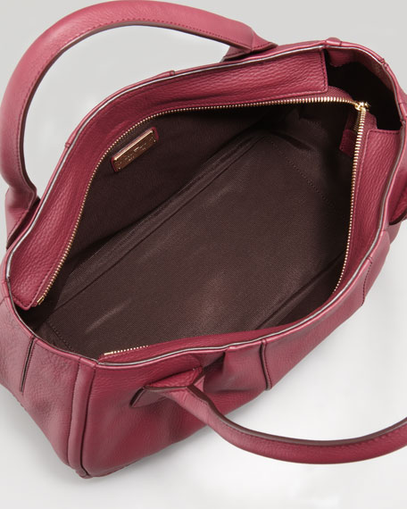 Izzie Gancini-Embossed Tote Bag, Burgundy