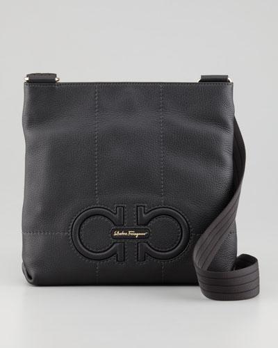 Salvatore Ferragamo Isi Gancini Leather Crossbody Bag, Black