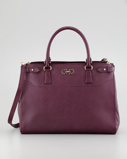 Salvatore Ferragamo Batik Saffiano Satchel Bag, Purple