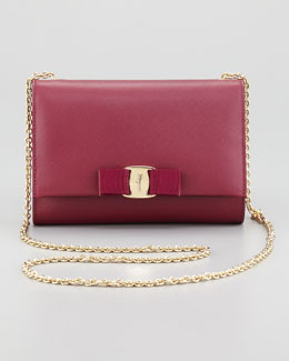 Salvatore Ferragamo Miss Vara Mini Flap-Top Crossbody Bag, Burgundy