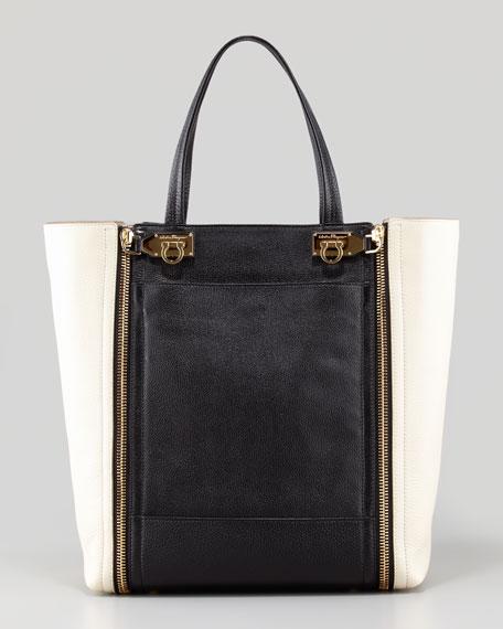 Suzanne Bicolor Zip-Front Tote Bag, Black/White