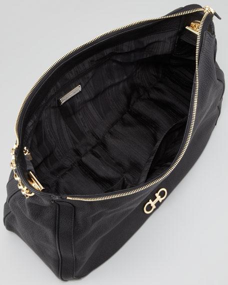 Conny Leather Zip Hobo Bag, Black