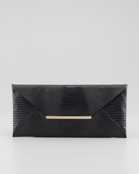 Lizard-Embossed Envelope Clutch