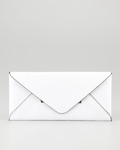 Lizard-Embossed Envelope Clutch, White