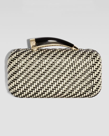 Woven Horn Clutch Bag, White