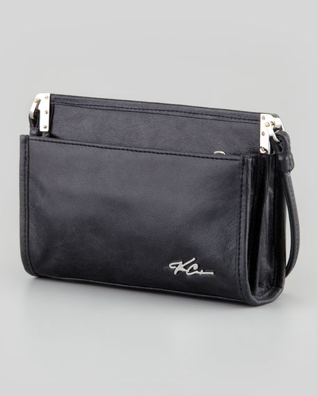 Joli Metallic Woven Crossbody Bag, Silver/Caviar