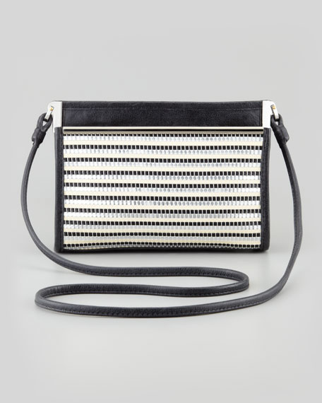 Joli Metallic Woven Crossbody Bag, Silver/Caviar