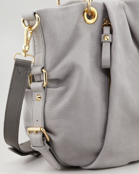 Cristina Pebbled Suede Satchel Bag