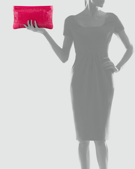 Loubiposh Studded Patent Clutch Bag, Pink