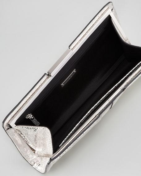 Iris Metallic Leather Clutch Bag, Gunmetal
