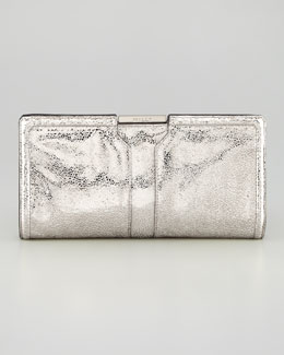 Milly Iris Metallic Leather Clutch Bag, Gunmetal