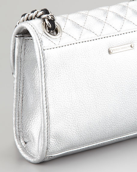 Quilted Affair Mini Metallic Shoulder Bag, Silver