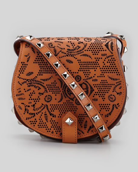 Skylar Laser Cut Studded Mini Messenger Bag, Almond