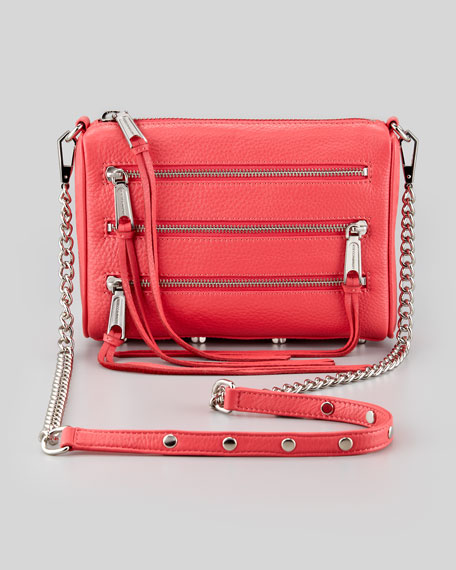 Zip-Front Leather Crossbody Bag, Berry