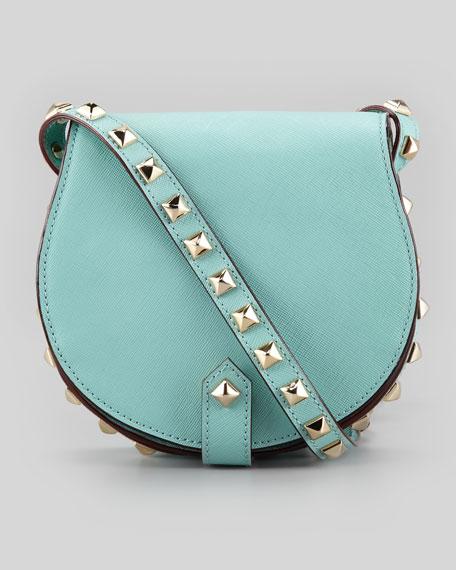 Skylar Saffiano Studded Mini Messenger Bag, Sea Glass