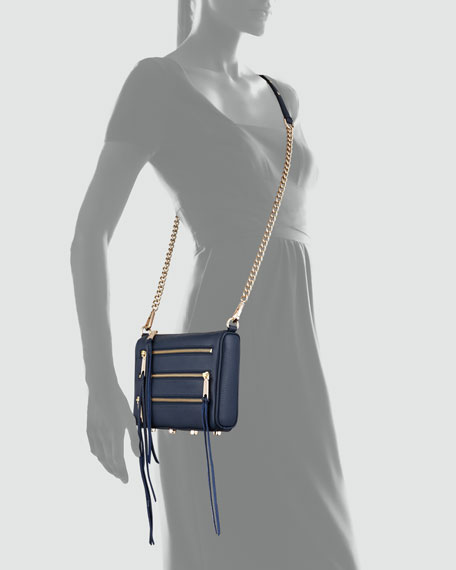 Mini 5-Zip Crossbody Bag, Midnight
