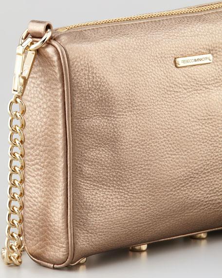 Five-Zip Mini Metallic Crossbody Bag, Bronze
