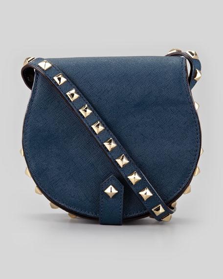 Skylar Saffiano Studded Mini Messenger Bag, Midnight
