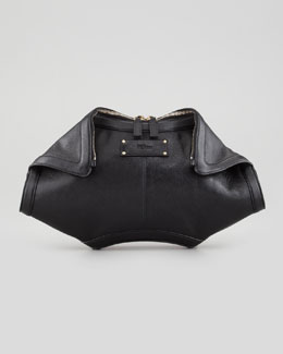Alexander McQueen De-Manta Leather Clutch Bag, Black